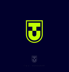 t and u letters monogram heraldic shield vector image