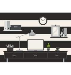 Table flat business office and workspace vector