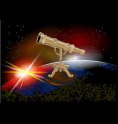 Telescope on a wooden stand vector