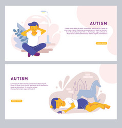 the child covers his ears with his hands and sits vector image