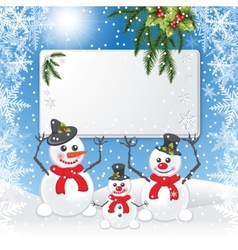 Three snowmen keep white board vector