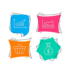 trade chart shop cart and chart icons money bag vector image