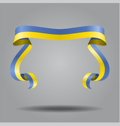 Ukrainian flag wavy ribbon background vector