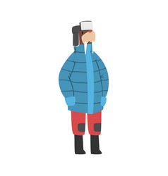 Walrus wearing warm jacket and hat with ear flaps vector