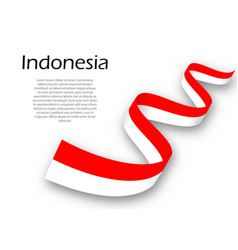 Waving ribbon or banner with flag of indonesia vector