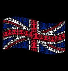 Waving united kingdom flag collage of farmer vector