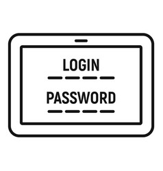 Web bank login icon outline style vector