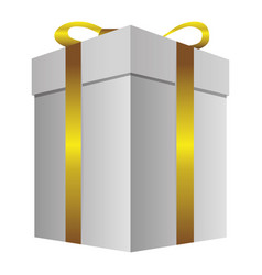 White gift long boxes with gold ribbon icon vector