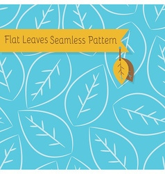 White leaves seamless pattern on blue background vector image
