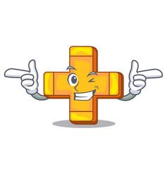 Wink cartoon plus sign logo concept health vector