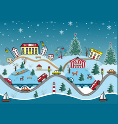 Winter seamless pattern cute cartoon hills vector