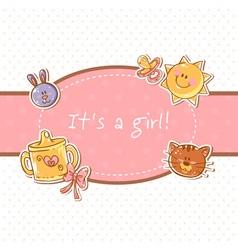Baby born sweet girl congratulation postcard vector image