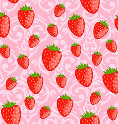cute pink seamless Valentines Day pattern with red vector image