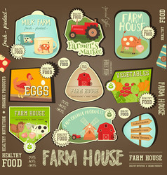 farm labels collection vector image vector image