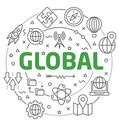 global linear slide for the vector image vector image