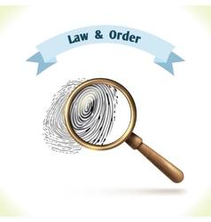 Law icon fingerprint under magnifier vector