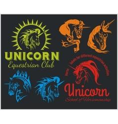set - Unicorns and horses equestrian labels badges vector image vector image