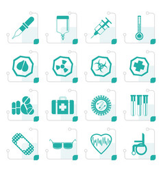 stylized simple medical themed icons and warning vector image vector image
