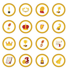 trophy and awards cartoon icon circle vector image vector image