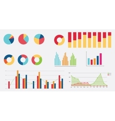 flat graph icon chart collection vector image vector image