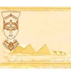 old paper with Egyptian queen vector image