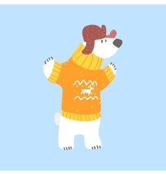 Polar White Bear In Sweater And Cap With Ear Flaps vector image vector image