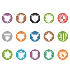 shield icon buttons set vector image