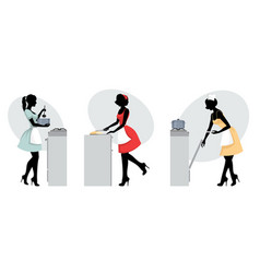 silhouettes of girls cooking vector image