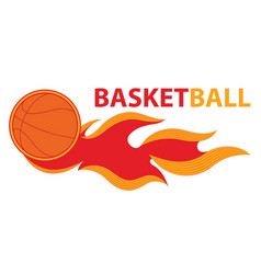 basketball sport comet fire tail flying logo vector image vector image