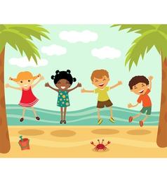 Happy kids in summer vector image vector image