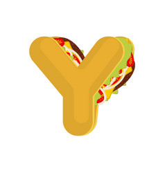 letter y tacos mexican fast food font taco vector image vector image