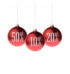 Red 3d christmas Baubles with discount label vector image