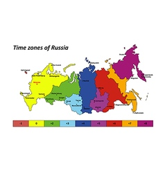 Russia map with time zones vector image vector image