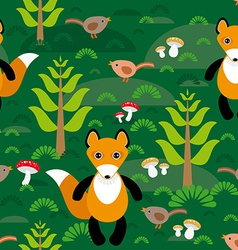 Seamless pattern fox and forest tree mushrooms vector image