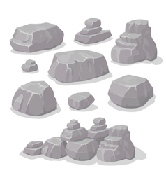 Set of stones rock elements different shapes vector