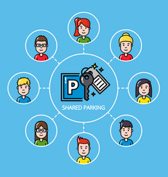shared parking concept with group of people vector image vector image