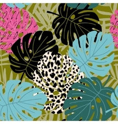 Tropical palm and monstera leaf seamless pattern vector image