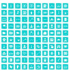 100 criminal offence icons set grunge blue vector image vector image