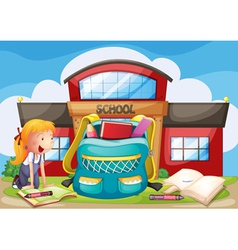 A girl with her bag at the school ground vector image vector image