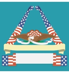 Eagle grip a ribbon with US flag vector image