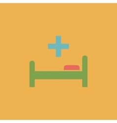 Hospital bed and cross icon vector image vector image
