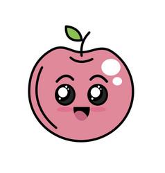 kawaii cute happy apple fruit vector image