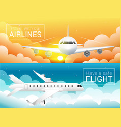 passenger airplane at sunset sky cloudssafe vector image