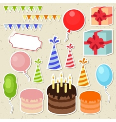 Set of birthday party elements for scrapbooking vector image