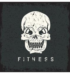 skull with kettlebells in eyes grunge fitness vector image vector image