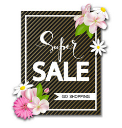 super sale background with beautiful flowers vector image vector image
