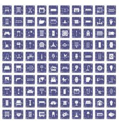 100 furnishing icons set grunge sapphire vector