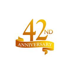 42 year ribbon anniversary vector