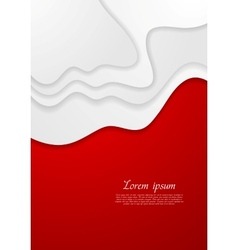 Abstract red and white wavy background vector
