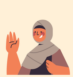 Arabic woman in traditional clothes waving vector